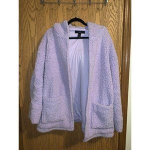 Forever 21   Periwinkle Fuzzy Teddy Coat